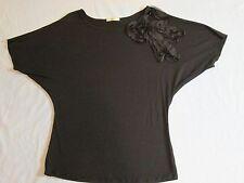 Gemstone Ladies Black Evening Top Sequin Flower Bow Raglan Sleeve  XL