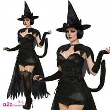 Ladies Wicked Kitten Cat Costume Halloween Carnival Animal Gothic Fancy Dress