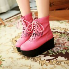 Women Lace Ups PUNK GOTHIC Casual Military Combat Platform Wedge Ankle Boot Shoe