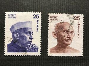 India 1976 Stamps x2:  Nehru 25p & Gandhi 25p (Scott 674 & 676). Used. FV