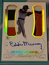 2016 EDDIE MURRAY PANINI FLAWLESS GAME USED JERSEY PATCH AUTO #/5 Orioles