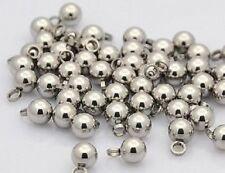 LOT de 6 PENDENTIFS BRELOQUE BOULES 9x6MM ACIER INOXYDABLE ANTI-ALLERGIQUE perle