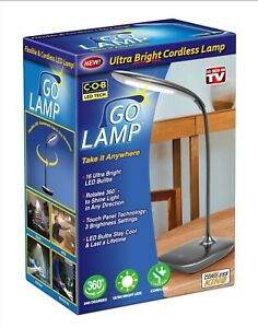 Go Lamp LED Ultra Bright Cordless Lamp Rotates 360° As Seen On TV Black or Gray