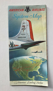 VINTAGE c1950 AMERICAN AIRLINES SYSTEM fold-out MAP DC-7 FLAGSHIP & AIRCOACH