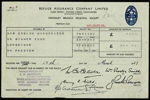 UK 1957 Refuge Assurance Company Limited Receipt.