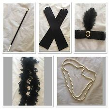 1920s Flapper Headband Cigarette Holder Feather Boa Gloves Necklace Gatsby Set