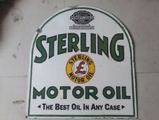 """Porcelain STERLING MOTOR OIL Sign SIZE 25"""" X 27"""" INCHES Double Sided Pre-Owned"""