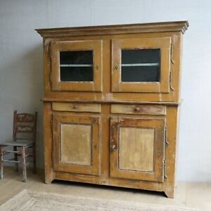 Vintage Antique 19c French Two Part Glazed Cabinet Cupboard