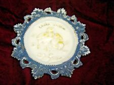 Antique Milk Glass Plate Embossed Baby Chicks Easter Greetings. 7525