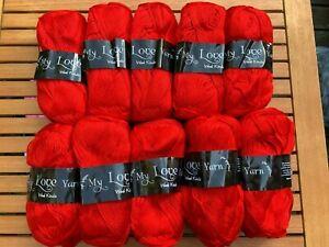 My love wool kinds Knitting Crochet yarn 10x100g balls  Bright Red