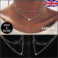 New Ladies Gold Silver Fashion Necklace Heart Jewellery Costume Choker Style UK