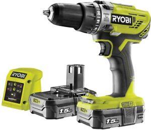 Ryobi R18PD3-215GZ 18 V ONE+ Cordless Combi Drill Starter Kit (2 x 1.5 Ah)