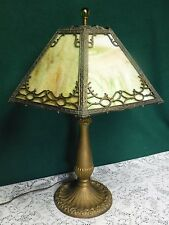 Antique Bradley Hubbard? 6 Panel Green Slag Glass Table Lamp Handel Era