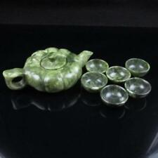 Chinese Green Jade Dragon Carved teapot teacup Tea Set  RR318