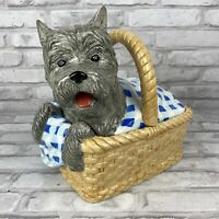 Enesco Wizard Of Oz Dorothy's Dog Toto In Basket Cookie Jar W/Lid Large Vintage