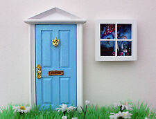 Opening blue elf door wooden miniature tooth fairy window