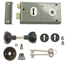 Rim Sash Lock Grey 145 x 75mm with Black Handles Door Sashlock Knobset +2 Keys