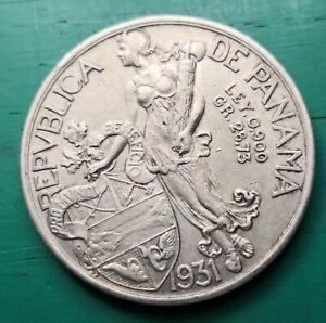 1931 Panama 90% silver coin Balboa #377