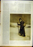 Original Old Antique Print 1913 Styka Tolstoi Infinite -Lady Battlefield Cooley