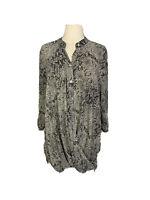 Virtuelle By TS Taking Shape Plus Size Womens Twist Sheer Button Up Shirt Sz 16