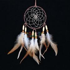 Brown Hand Made Indian Dream Catcher With Feathers  Beads decoration ornament