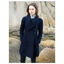 100% Merino Wool Ladies Aran Coat With 3 Buttons, Navy Colour