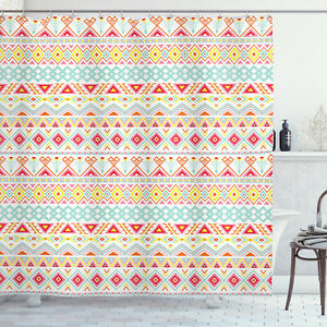 Tribal Shower Curtain Native Style Aztec Art Print for Bathroom