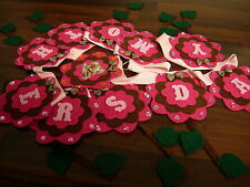 Bespoke mothers day bunting banner garland decoration brown and pink flowers