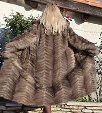 Manteau fourrure vison véritable FR 38 40 gris chaud hiver