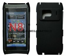 Premium  Black Hybrid Rubberized Back Hard Case,Cover,Pouch for Nokia N8