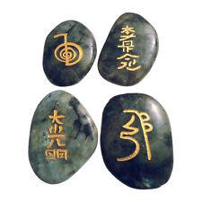 4 Labradorit Handschmeichler mit Usui Reiki Symbolen im Samt Beutel Worry Stone
