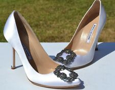 New Manolo Blahnik Hangisi Jeweled White Satin Pumps Size 36 / 6 $965