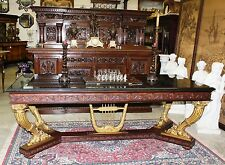 Antique Gold Neoclassical French Table/Desk 1890 Horn of Plenty Legs Harp Center