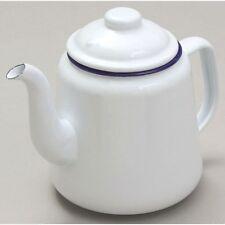 Falcon WHITE Enamel Tea Pot With Handle & Lid Teapot - Camping