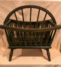 Heavy Wood Magazine Rack Footed Stand W Spindels Oval Holder 24 in high Vintage