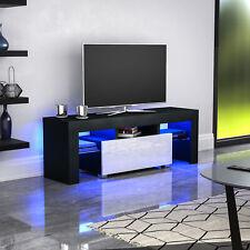 Luna LED TV Stand Cabinet Unit 1 Drawer Matte Gloss MDF Furniture Black & White