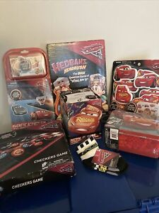 DISNEY CARS Lot 7 Items Metal Lunch Box 28 Dominoes Socks Tub Time Cube + NEW