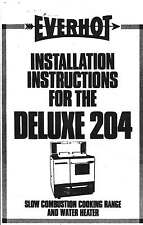 Vulcan Everhot Deluxe 204 Wood Stove Operating&Installation Instructions 20pg CD