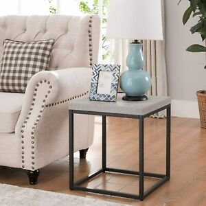 Concrete Style Table Modern Square End Side Lamp Plant Stand Living Furniture