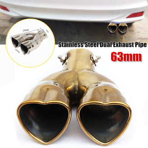 63mm Double-Barrel Car Exhaust Pipe Stainless Steel Tail Muffler Tips Universal