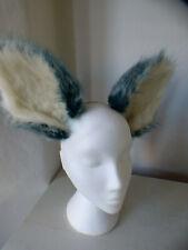 Cosplay fox ears on headband, Kat Croker, handmade, mint green/white