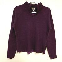 Mountain Hardwear Womens Medium Wool Blend Sweater Thumbholes Ribbed Burgundy