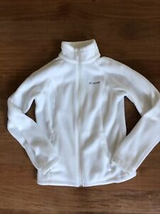 Columbia Fleece Jacket Womens Size Small White Full Zip
