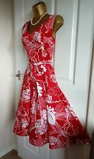 PHASE EIGHT RED AND WHITE FLORAL FIT & FLARE VINTAGE STYLE SUMMER DRESS S12