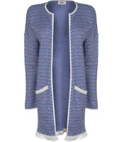 Only Zea Cardigan Blue White Open Front Womens Warm UK Size S Small *REF48