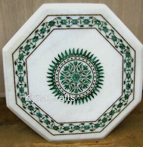 15 Inches Marble Corner Table Green Stone Inlaid Work Coffee Table Top for Decor