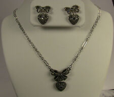 MARCASITE STERLING SILVER HEART NECKLACE & EARRINGS BY JUDITH JACK