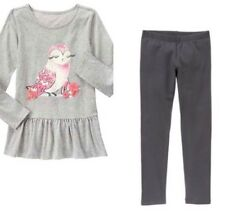 Gymboree Enchanted Winter 5-6 Owl Tunic & Gray Fuzzy Lined Leggings Set gray