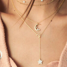 Multi-layer Necklace Pendant Moon Star Gold Clavicle Chain Necklaces For Women