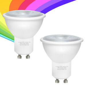 2 x 7W LED GU10 Automatic Colour Change Red Green Blue RGB Flash Light Bulb